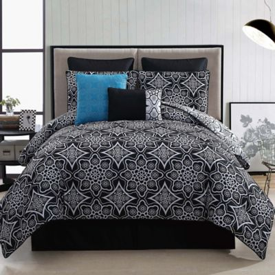 Arabella 8-Piece Reversible Comforter Set in Black/White