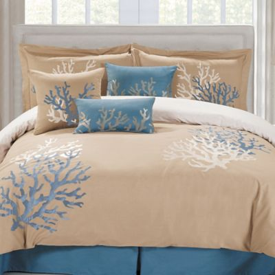 Panama Jack Coral Seas Queen Comforter Set in Taupe/Blue
