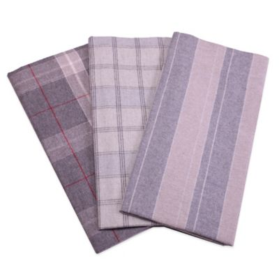 Belle Epoque La Rochelle Collection Plaid Heathered Flannel Queen Sheet Set in Grey/Tan