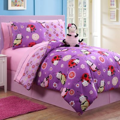 Lady Reversible Twin 7-Piece Comforter Set in Purple