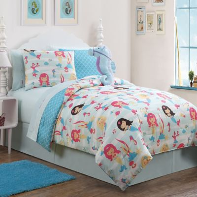 Mermaid 7-Piece Reversible Twin Comforter Set in Blue