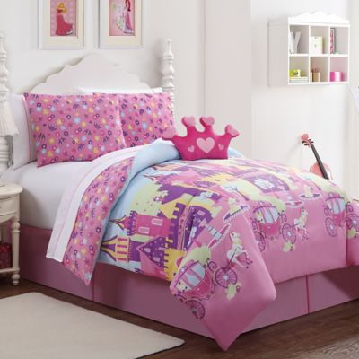 Princess 7-Piece Reversible Twin Comforter Set in Pink