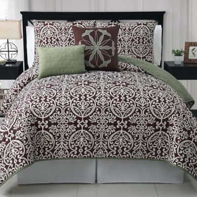 Tempo Reversible King Quilt Set in Sage