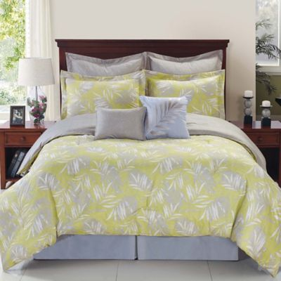 Palmetto Citron Reversible 8-Piece Full Comforter Set in Yellow/Silver