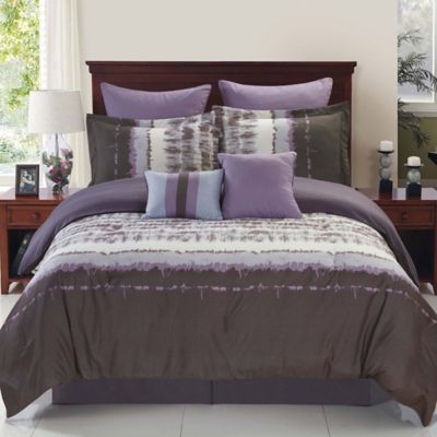 Hudson Reversible 8-Piece Full Comforter Set in Purple/Grey