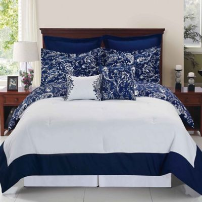 Enzo Reversible 8-Piece Queen Comforter Set in Navy/White