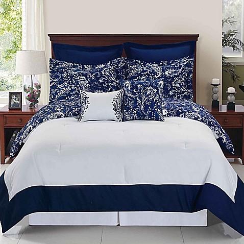 enzo reversible comforter set in navy/white  www