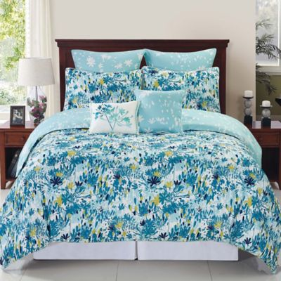 Teal and White Comforter Set