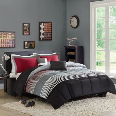 Red Stripe Comforter Set