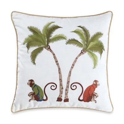 Monkey Palm Tree Square Throw Pillow in Multi