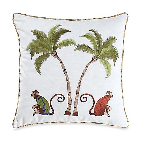 Decorative Pillow Palm Tree : Buy Monkey Palm Tree Square Throw Pillow in Multi from Bed Bath & Beyond