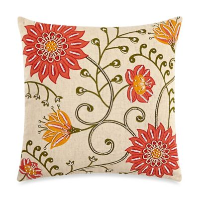 Red Floral Square Pillow
