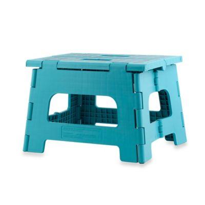 Kikkerland® Design Rhino II Folding Step Stool in Aqua
