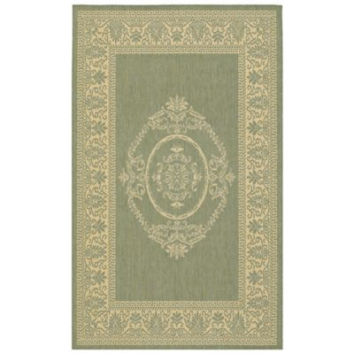 Couristan Antique Medallion 3-Foot 9-Inch x 5-Foot 5-Inch Indoor/Outdoor Rug in Green/Natural
