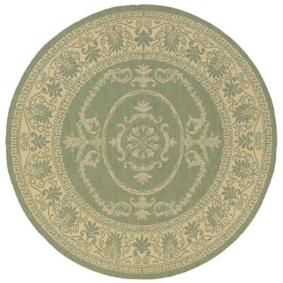 Couristan Antique Medallion 8-Foot 6-Inch Round Indoor/Outdoor Rug in Green/Natural