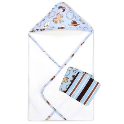 Trend Lab® 3-Piece Cowboy Baby Hooded Towel and Washcloth Set