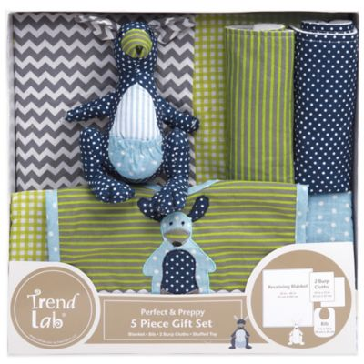 Trend Lab® 5-Piece Perfectly Preppy Welcome Baby Essentials Gift Set in Green/Navy