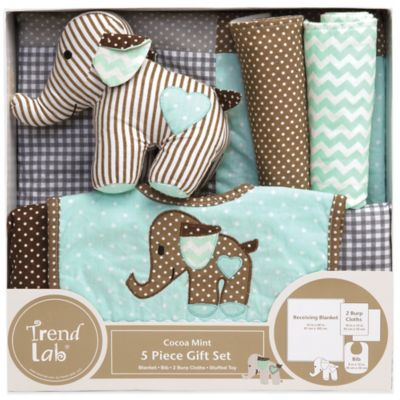 Trend Lab® 5-Piece Cocoa Mint Welcome Baby Essentials Gift Set in Mint/Brown