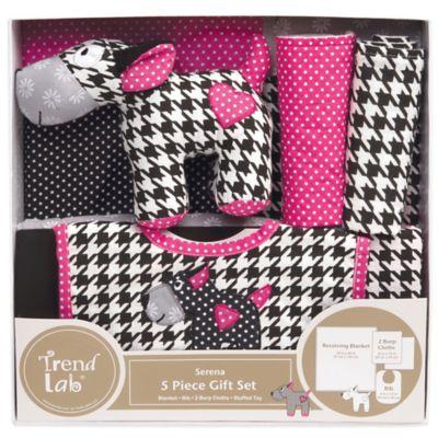 Trend Lab® 5-Piece Serena Welcome Baby Essentials Gift Set in Pink/Black