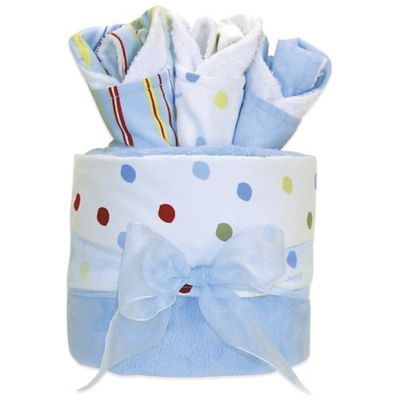 "Trend Lab® 4-Piece Dr. Seuss™ ""One Fish, Two Fish"" Blanket and Bib Gift Cake"