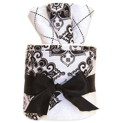 Trend Lab® 4-Piece Versailles Hooded Towel and Washcloth Gift Cake in Black/White