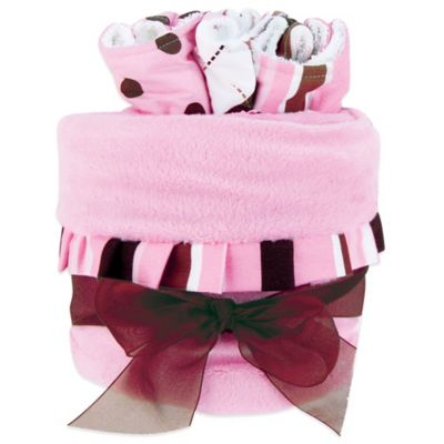 Trend Lab® 4-Piece Maya Stripe Blanket and Bib Gift Cake