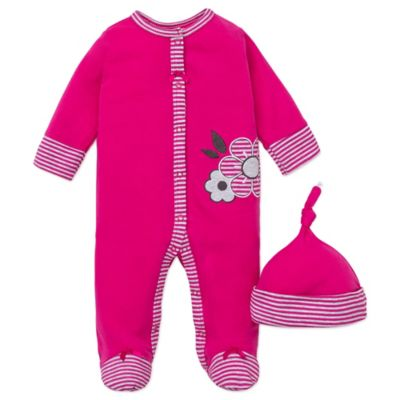 Offspring® Size 9M 2-Piece Geo Floral Snap-Front Footie and Hat Set in Pink