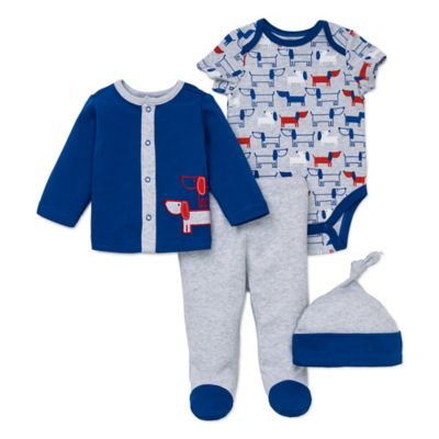 Offspring® Size 3M 4-Piece Pups Jacket, Pant, Bodysuit, and Hat Set in Blue/Red