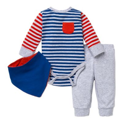 Offspring® Size 3M 3-Piece Striped Bodysuit, Pant, and Handkerchief Bib Set in Blue/Red/Grey