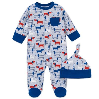 Offspring® Size 9M 2-Piece Pups Print Snap-Front Footie and Hat Set in Red/White/Blue