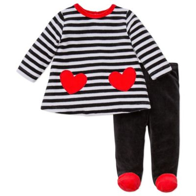 Offspring® Size 9M Heart Velour Tunic and Footed Pant Set in Black/Red