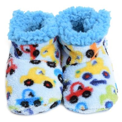 Skidders® Bumper Cars Size 0-6M Plush Booties in Light Blue