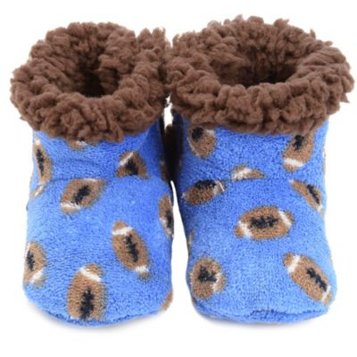 Skidders® Football Toss Size 12-18M Plush Booties in Blue