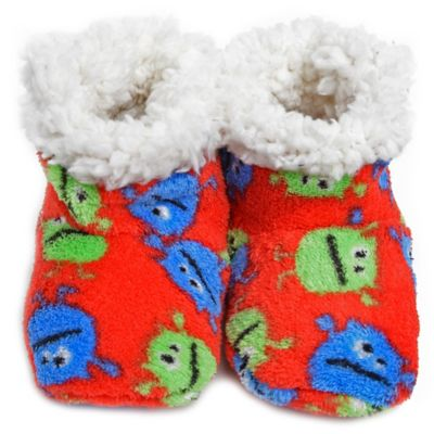 Skidders® Funny Monsters Size 0-6M Plush Booties in Red