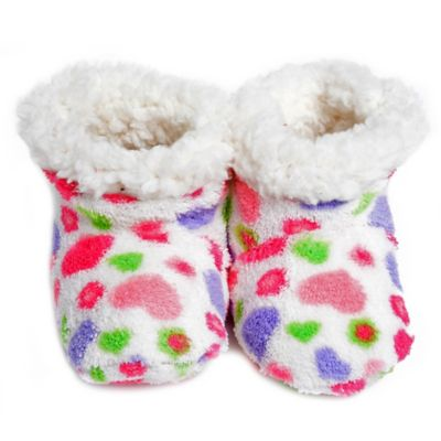 Skidders® Happy Hearts Size 6-12M Plush Booties in White