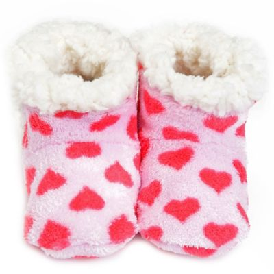 Pink Hearts Size 6-12M Plush Booties