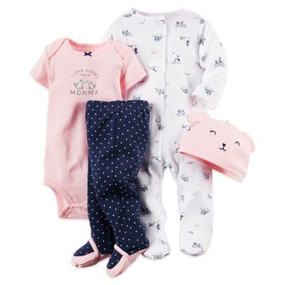"Carter's® Size 3M 4-Piece Doggie Footie, ""Kisses from Mommy"" Bodysuit, Pant, and Hat Set"