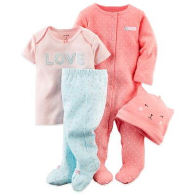 "Carter's Newborn 4-Piece ""Cute As Can Be"" Footie, ""Love"" Top, Cat Hat, and Pant Set"