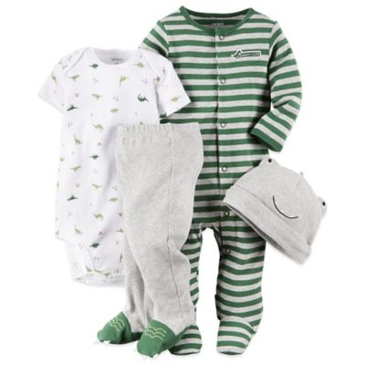 "Carter's Newborn 4-Piece ""Mighty Cute"" Dinosaur Footie, Bodysuit, Pant, and Hat Set"