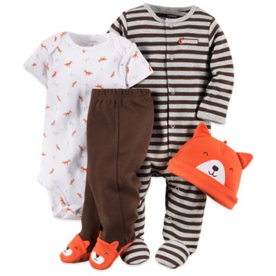 Carter's Newborn 4-Piece Fox Footie, Bodysuit, Pant, and Hat Set