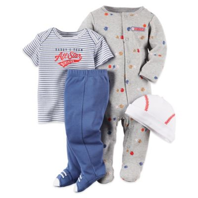 Carter's Size 9M 4-Piece Sports Footie, Shirt, Pant, and Hat Set in Grey