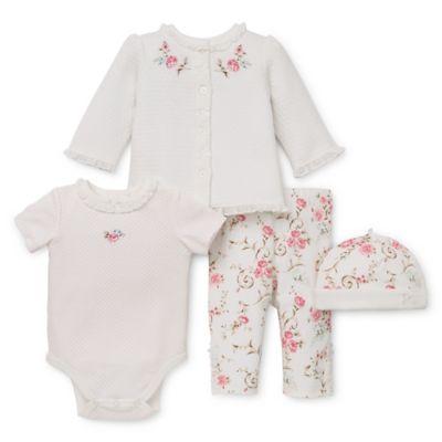 Little Me® Newborn 4-Piece Ivory Rose Take Me Home Bodysuit, Jacket, Pant, and Hat Set