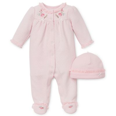 Little Me® Size 6M 2-Piece Graceful Roses Footie and Hat Set in Pink