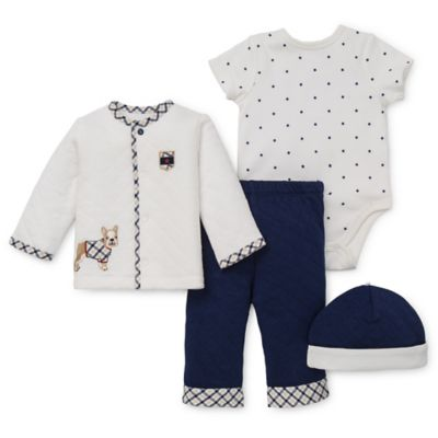 Little Me® Newborn 4-Piece Best Friends Take Me Home Top, Bodysuit, Pant, and Hat Set