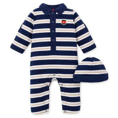 Little Me® Size 3M 2-Piece Stripe Mix French Terry Coverall and Hat Set in Navy/Tan