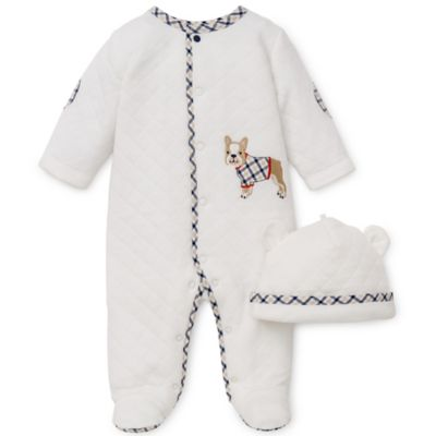 Little Me® Newborn 2-Piece Best Friends Quilted Footie and Hat Set in Ivory