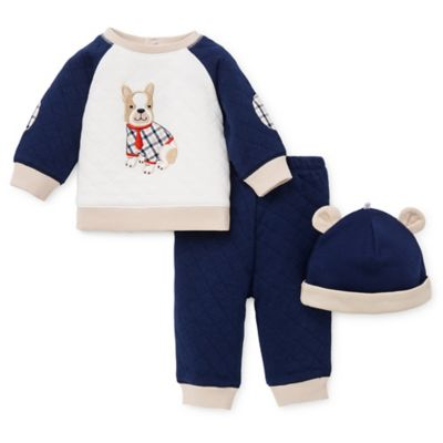 Little Me® Size 3M 2-Piece Best Friends Quilted Top, Pant, and Hat Set in Navy/Tan