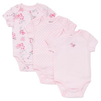 Little Me® Newborn 3-Pack Scroll Rose Bodysuits in Pink