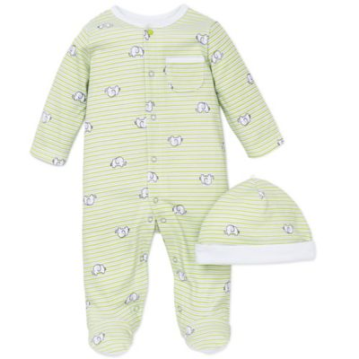 Little Me® Size 3M 2-Piece Elephant Stripe Snap-Front Footie and Hat Set in Green