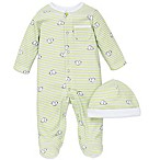 Little Me® Newborn 2-Piece Elephant Stripe Snap-Front Footie and Hat Set in Green
